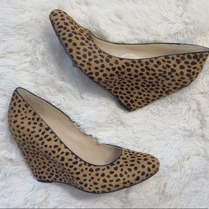 NWOB Banana Republic Leopard Calfhair Wedges